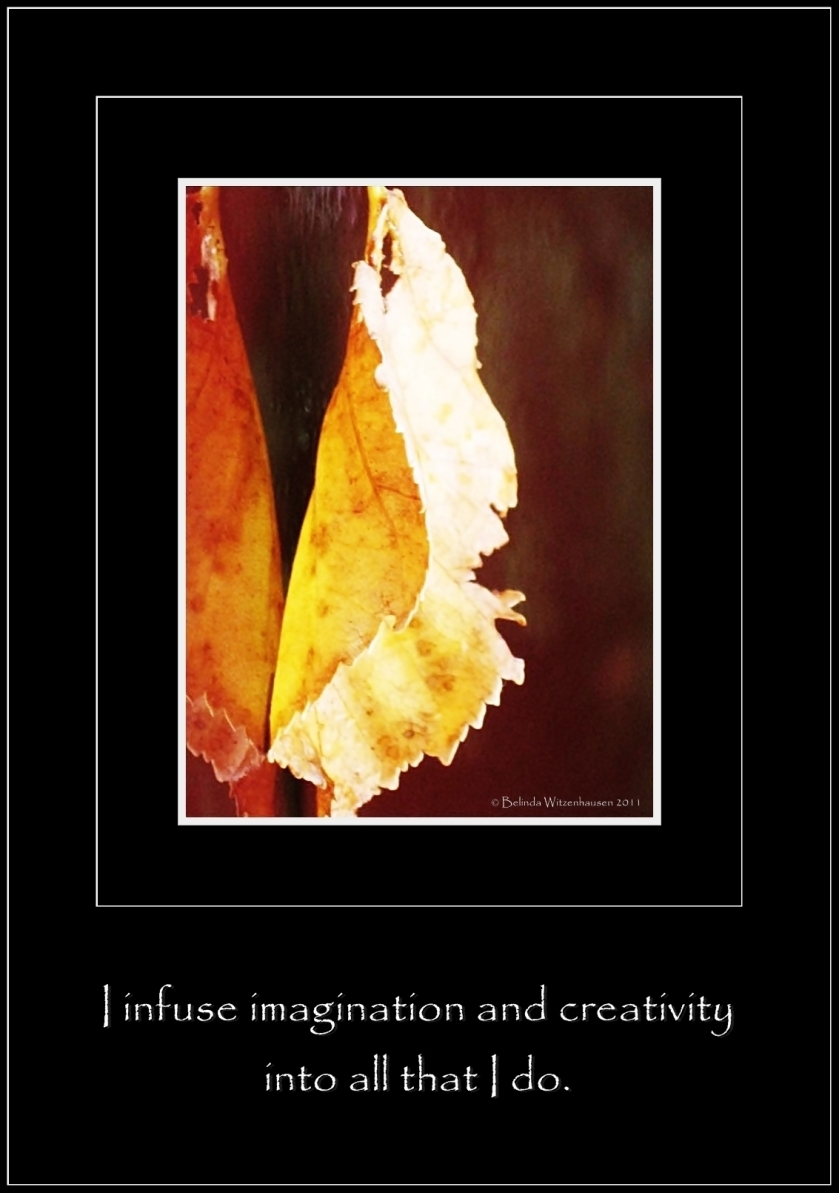 Affirmation for Creativity~I infuse imagination and creativity  into all that I do.