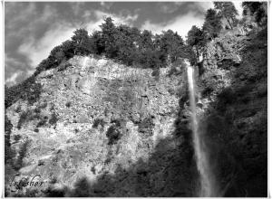 Cliff-face Multnomah Falls WM
