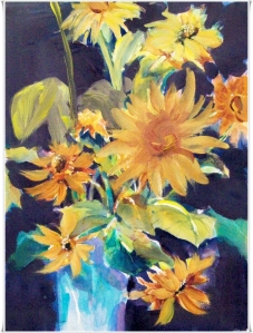 Sunflowers in Blue Vase, mixed media small